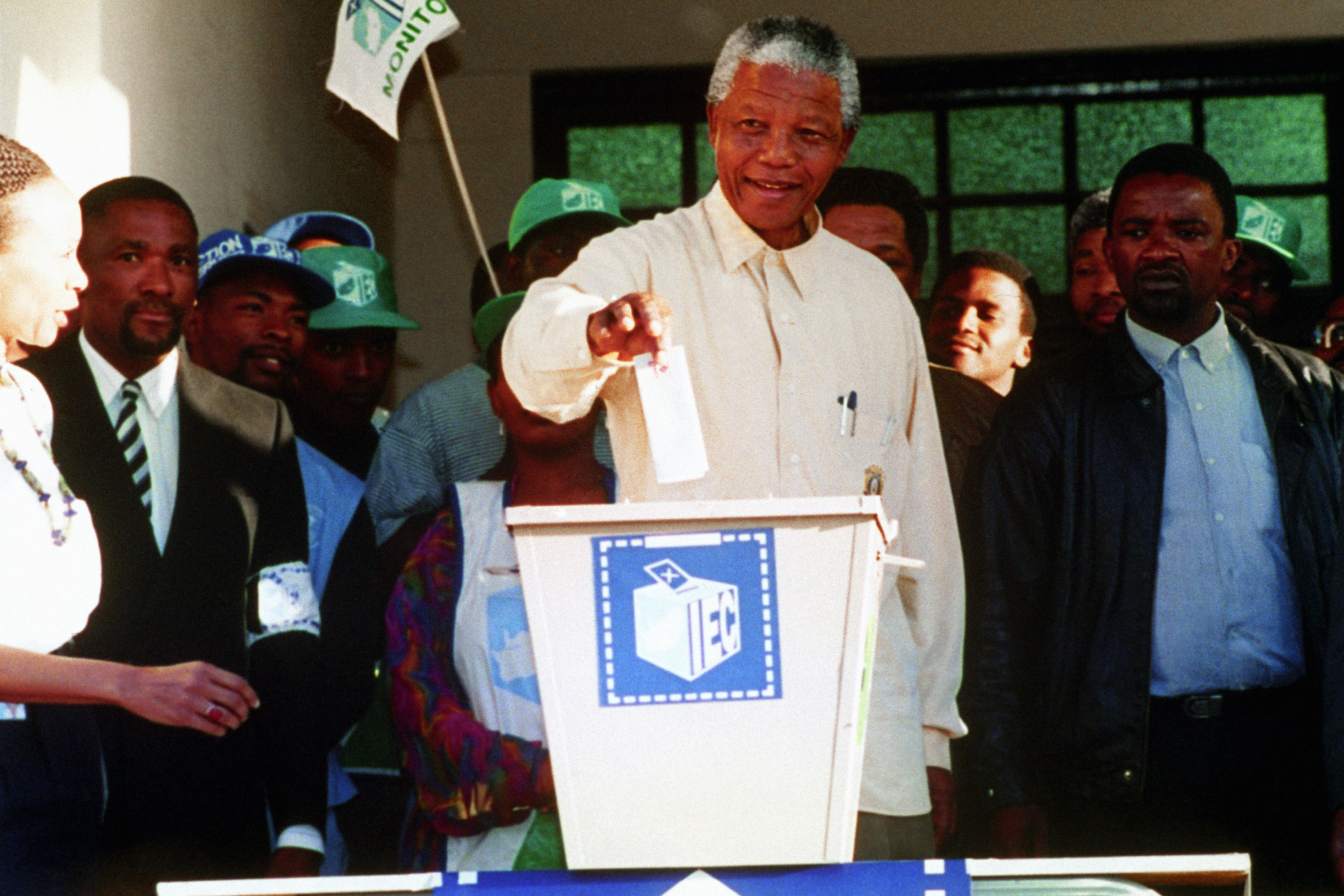 President Nelson Mandela casting his vote in the black township of Oshlange, near Durban, in the first all race elections. Former South African leader Nelson Mandela has died at the age of 95, the country's president, Jacob Zuma, has announced.