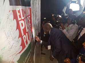 Peace Pledge Wall being signed by IEBC Chair Wafula Chebukati.