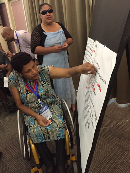 Women with disabilities vote for recommendations to PIANZEA in the Pacific Regional Disability Rights Dialogue.