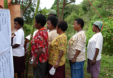 Native Papuans queue up to vote in regional and national elections.