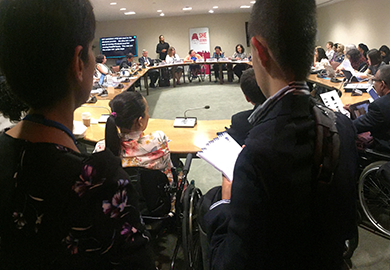 """She Leads Cambodia"" alumna Chanthy Hoy speaks to a standing room crowd at an event hosted by the United States Mission to the United Nations and IFES."