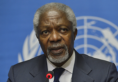 Kofi Annan, Joint Special Envoy of the United Nations and the Arab League for Syria speaks during a news conference following the Action Group on Syria meeting in the Palace of Nations, Saturday, June 30, 2012, at the United Nations' Headquarters in Geneva, Switzerland.