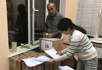 Organization of delivery of poll worker training materials at IFES' Armenia office