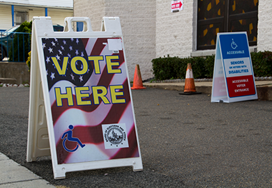 Signage outside polling station during the United States' 2014 general elections