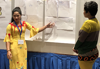 Participants with intellectual disabilities practice leading lessons in Yangon, Myanmar.