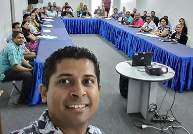 """Supervisor of Elections for Fiji Mohammed Saneem and other Fijian Election Office staff participate in the webinar on """"Safeguarding Health and Elections."""""""