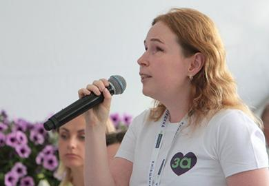 Leonida Ponomaryova speaks during a public event organized by the political party For the Future in Kyiv in August 2020.