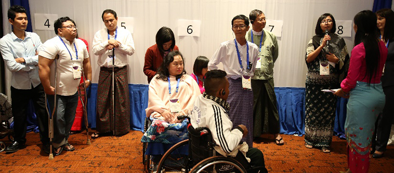 Dialogue participants take part in an interactive session on intersectional barriers faced by persons with disabilities who are part of other marginalized groups.