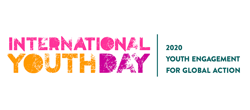 Text: International Youth Day | 2020 Youth Engagement for Global Action