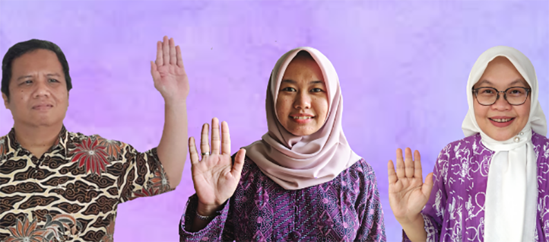 Members of AGENDA team, with purple background, hold one of their hands high while keeping their palm open and face out.