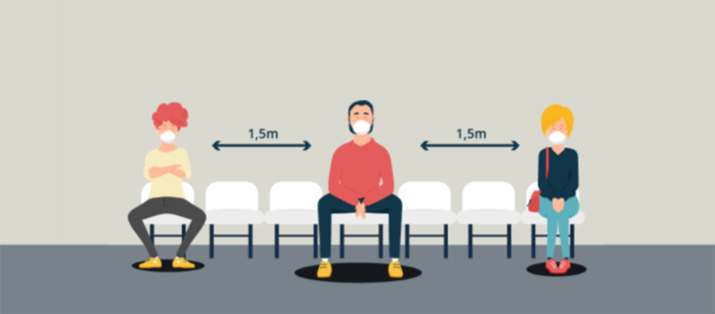 A training graphic that shows voters maintaining a distance of 1.5 meters.