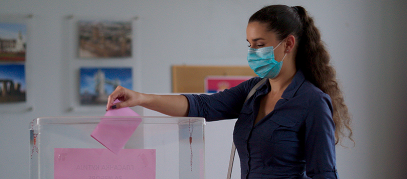 A Serbian actor casts her ballot as part of a public service announcement ahead of the 2020 elections.
