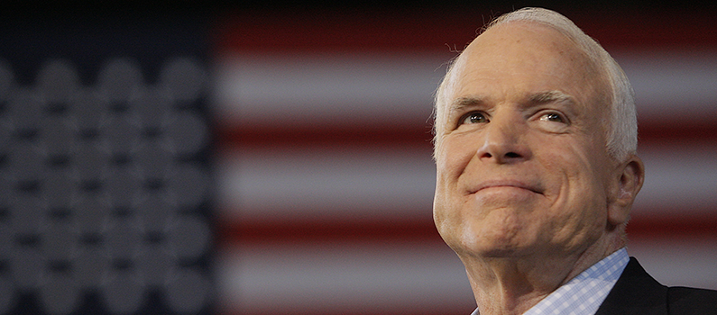 Republican presidential candidate, Sen. John McCain (R-Ariz), is introduced to supporters at a campaign rally on September 5, 2008, in Sterling Heights, Mich.