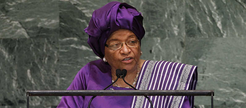 Liberian President Ellen Johnson-Sirleaf addresses the 67th session of the United Nations General Assembly at United Nations headquarters, Wednesday, September 26, 2012.