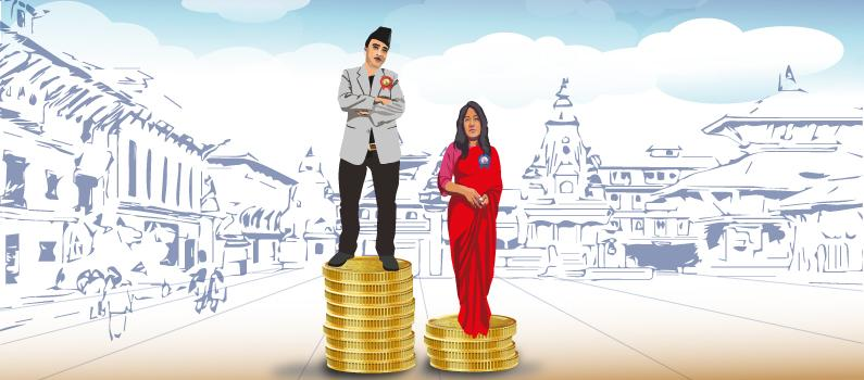 Man stands on nine coins and woman stands on four coins