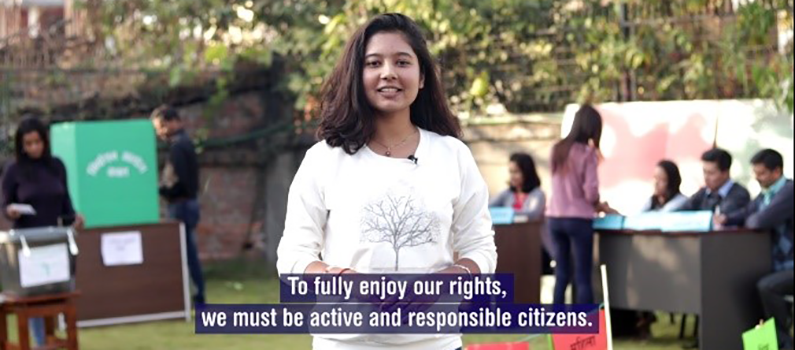 """A young woman in the video says, """"To fully enjoy our rights, we must be active and responsible citizens."""