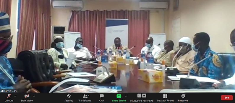Zoom screen of The Gambia's election management body participating in the iEXCEL training