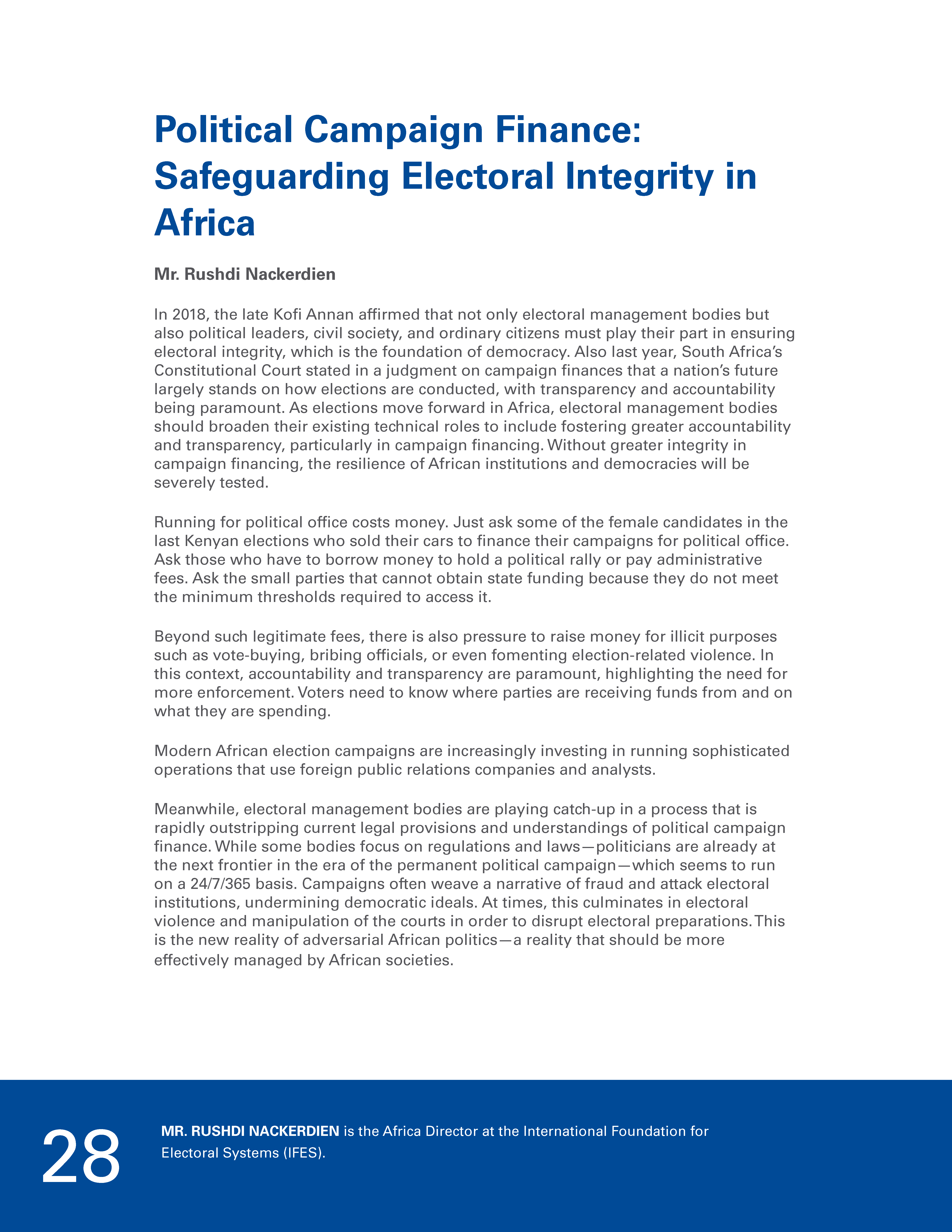 Political Campaign Finance: Safeguarding Electoral Integrity in Africa