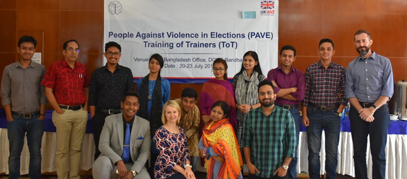 "Nine Dhaka University students completed an IFES ""People Against Violence Everywhere"" master training in July."