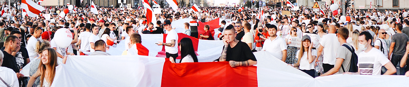 Belarusians participate in a demonstration.