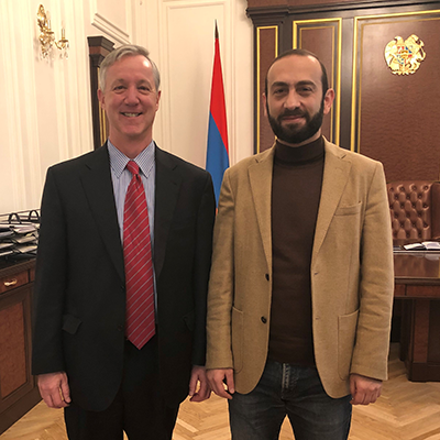 IFES President and CEO Anthony Banbury and First Deputy Prime Minister of Armenia Ararat Mirzoyan after a meeting on IFES' current and future activities and Armenia's electoral assistance needs