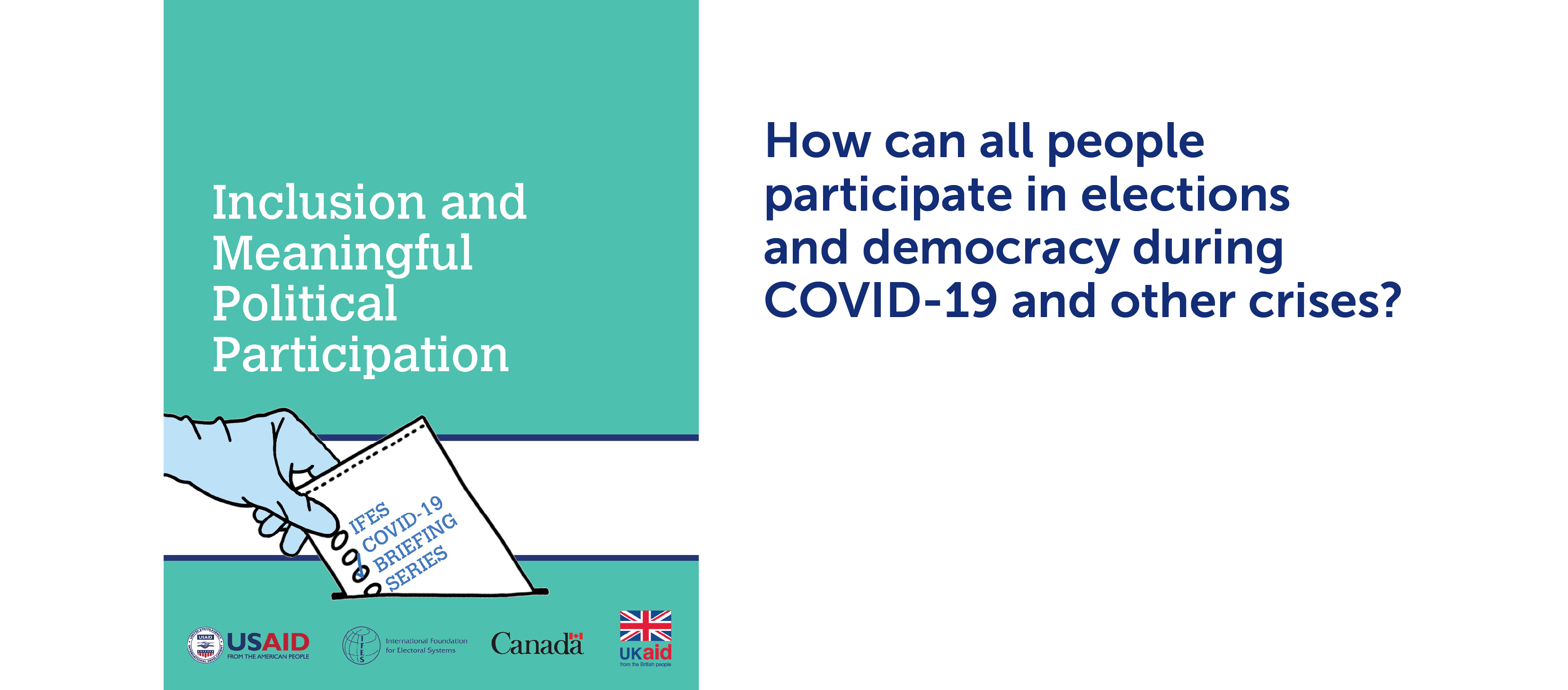 """Cover of  """"IFES COVID-19 Briefing Series: Inclusion and Meaningful Political Participation"""" 