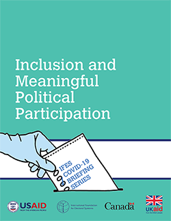 """Cover of """"IFES COVID-19 Briefing Series: Inclusion and Meaningful Political Participation"""""""