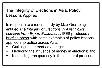 The Integrity of Elections in Asia: Policy Lessons Applied
