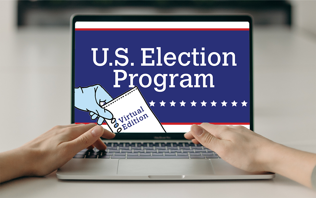 Text: U.S. Election Program Virtual Edition | Image: Hands on a laptop keyboard