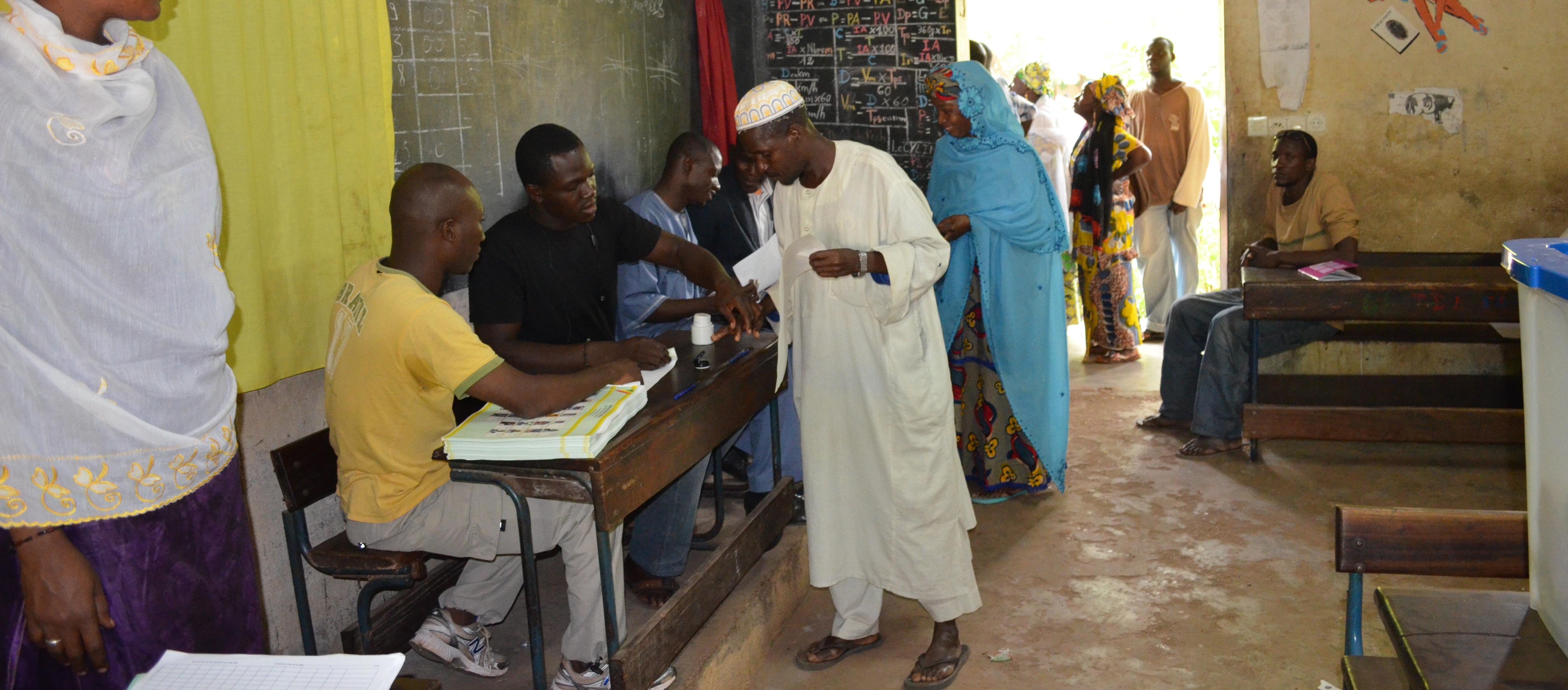 Voter getting inked in the 2013 presidential election in Mali